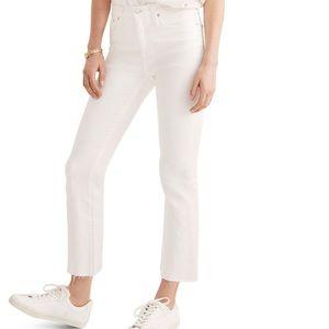 Madewell Cali Demi Boot in white w/ Raw Hem